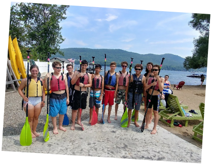 Teen Treks New York City to Montreal trek enjoys a kayaking adventure at Lake George in New York State's beautiful Adirondack Mountains