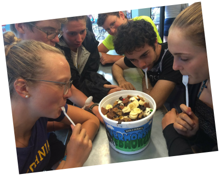 Teen Treks New York City to Montreal trek takes a break from bicycle touring to enjoy a Ben and Jerry's Vermonster