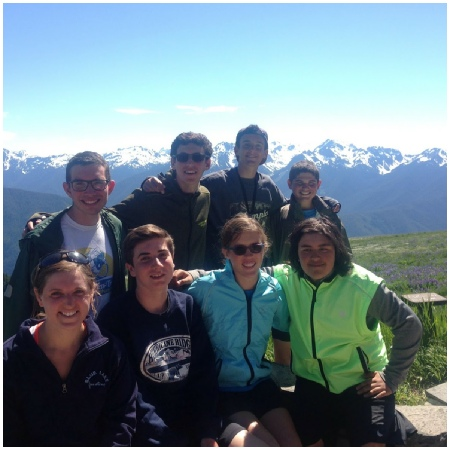 Teen Treks Pacific Northwest bicycle tour group picture at Hurricane Ridge in Olympic National Park